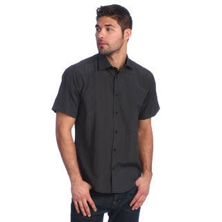 Men's Slim Fit Black Short Sleeve Button-down Shirt