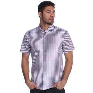 Men's Slim Fit Purple Striped Short Sleeve Button-down Shirt