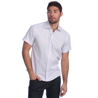 Men's Slim Fit Light Purple Striped Short Sleeve Button-down Shirt