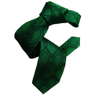 Dmitry Men's Emerald Green Jacquard Patterned Italian Silk Tie