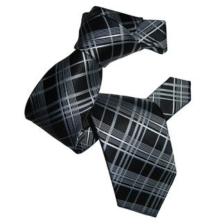 Dmitry Men's Black Plaid Patterned Italian Silk Tie