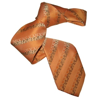 Dmitry Men's Light Orange Patterned Italian Silk Tie