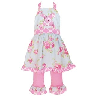 AnnLoren Girls Floral Bunny Halter Easter Dress and Capri Pant Set