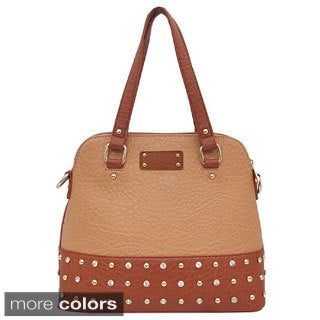 Yoki Two-tone Studded Satchel Bag