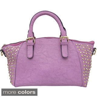 Yoki Rhinestone Studded-side Top Handle Satchel