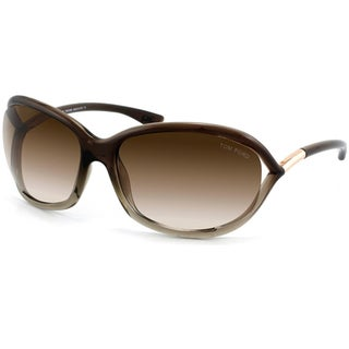 Tom Ford Women's 'TF008 Jennifer 38F' Brown Gradient Plastic Fashion Sunglasses