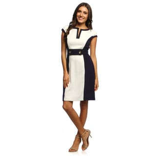 Studio One Women's Ivory and Navy Colorblocked Sheath Dress