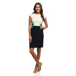 Studio One Women's Ivory Blue and Green Colorblocked Dress