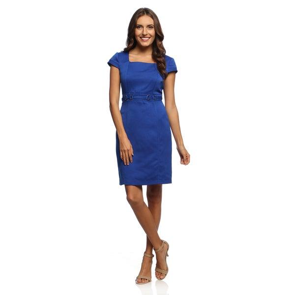 Studio One Women's Sapphire Blue Novelty Sheath Dress