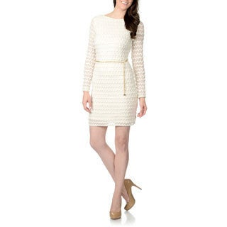 Studio One Women's Ivory Wavy-knit Dress