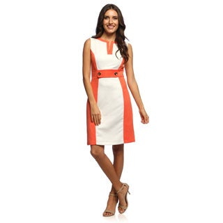 Studio One Women's White and Orange Pique Sheath Dress
