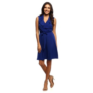 Studio One Women's Cobalt Blue Ruffle Front Mock-wrap Dress