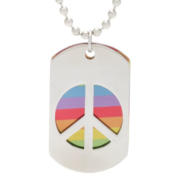 Spikes Stainless Steel Peace Dog Tag Pendant Necklace
