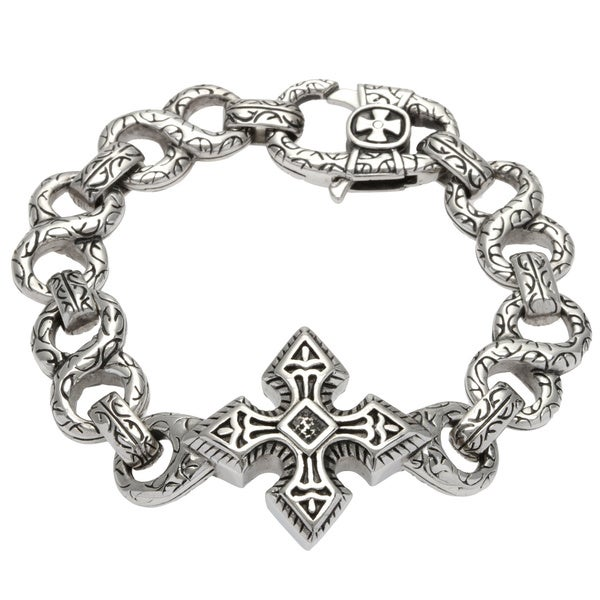 Spikes 316L Steel Cast Bracelet Large Celtic Cross with Engraved Figure 8 Links
