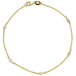 Diamonds For A Cure 14k Yellow Gold Bezel Station Bracelet (G-H, SI1-SI2)