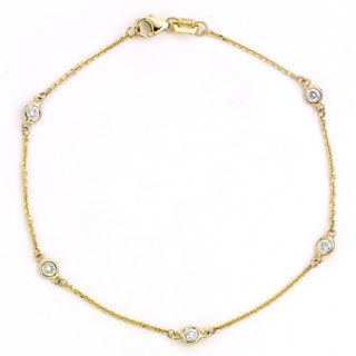 Neda Behnam DFAC 14k Yellow Gold 1/3ct TDW Diamond Bezel Station Bracelet (G-H, SI1-SI2)