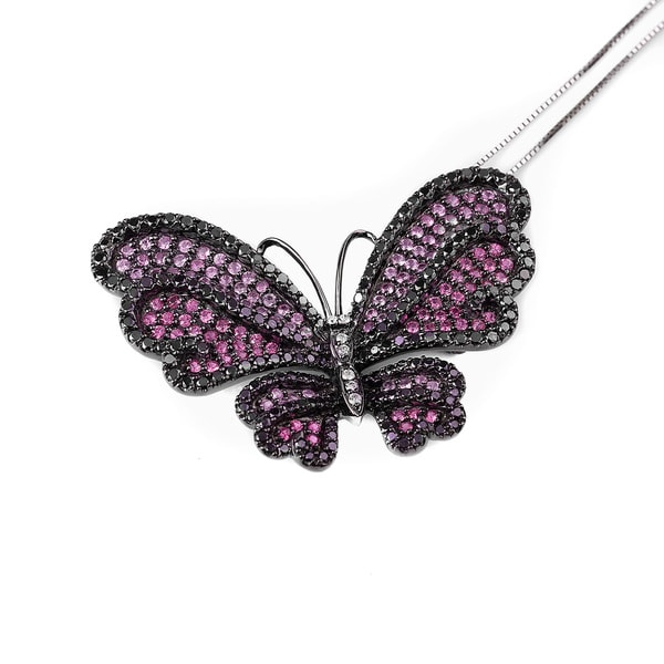 Kabella Luxe 14k Black Gold 2 2/5ct TDW Black Diamond and Multi Pink Sapphire Butterfly Pendant Brooch