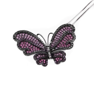 14k Black Gold 2 2/5ct TDW Black Diamond and Multi Pink Sapphire Butterfly Pendant Brooch