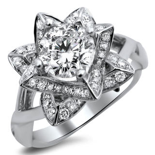 14k White Gold 1ct TDW Diamond Lotus Flower Engagement Ring (G-H, SI1-SI2)