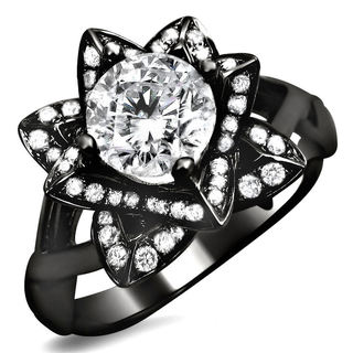 14k Black Gold 1ct Round Diamond Lotus Flower Engagement Ring (G-H, SI1-SI2)