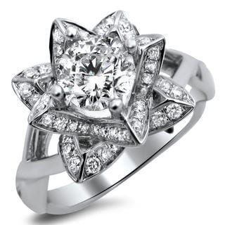 14k White Gold 1 1/4ct TDW Diamond Lotus Flower Ring (G-H, SI1-SI2)