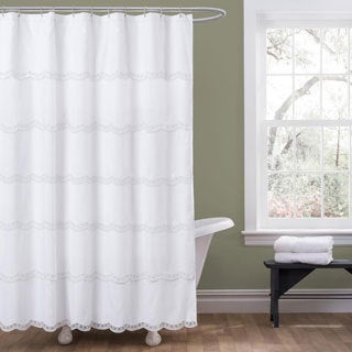 Lush Decor Dorein White Shower Curtain