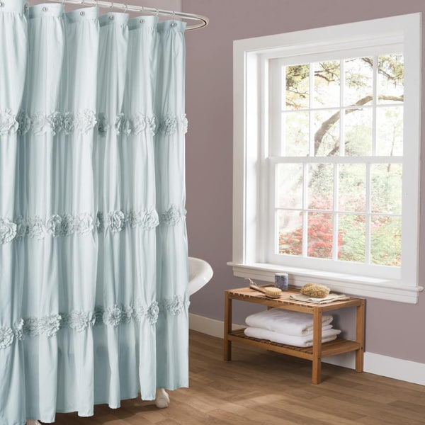 Lush Decor Darla Spa Blue Shower Curtain