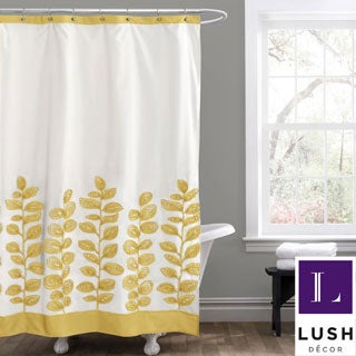 Lush Decor Vineyard Allure Yellow Shower Curtain