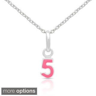 Molly and Emma Sterling Silver Pink Enamel Number Necklace