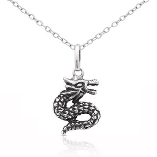 Molly and Emma Sterling Silver Dragon Necklace