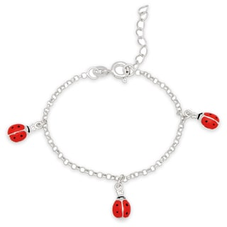 Molly and Emma Sterling Silver and Enamel Ladybug Charm Bracelet