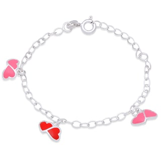 Molly and Emma Sterling Silver and Enamel Heart Charm Bracelet