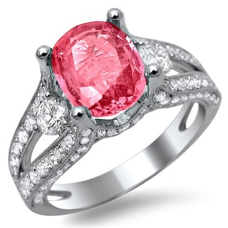 18k White Gold 2 4/5ct TDW Diamond and Pink Sapphire Engagement Ring