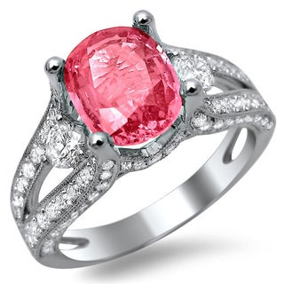 18k White Gold 2 5/8ct TDW Diamond and Pink Sapphire Engagement Ring