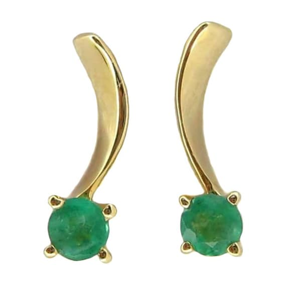 14k Gold 1/6ct Emerald Lace Stud Earrings 12465625