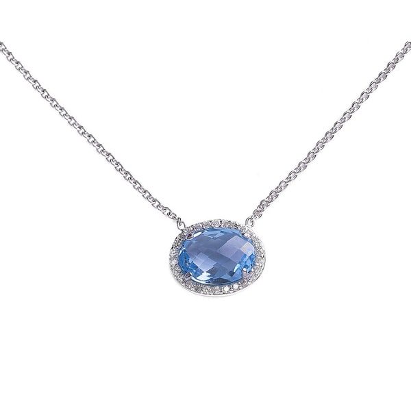Sterling Silver Faceted Oval Gemstone Cubic Zirconia Halo Necklace