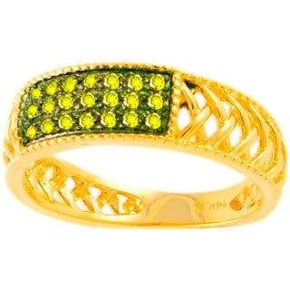Beverly Hills Charm 14k Yellow Gold 1/8ct TDW Real Yellow Diamond Band Ring (I1)