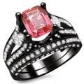 18k Black Gold 3 3/5ct Diamond and Pink Sapphire Emerald-cut Bridal Ring Set (E-F, VS1-VS2)