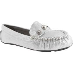 Women's Annie Denise Moc Loafer Silver Tumbled Soft Metallic