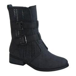 Women's Wild Diva Plateau-38A Perfed Boot Black Faux Suede