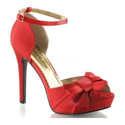Women's Fabulicious Lumina 36 Ankle Strap Red Satin