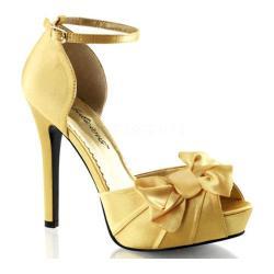 Women's Fabulicious Lumina 36 Ankle Strap Yellow Satin