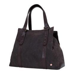 Token Crescent Waxed Tote Bag Dark Brown