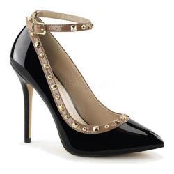 Women's Pleaser Amuse 28 Ankle Strap Black/Rose Patent