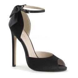 Women's Pleaser Sexy 16 Ankle Strap Black Satin