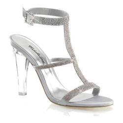 Women's Fabulicious Clearly 418 Silver Satin