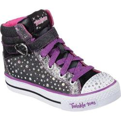 Girls' Skechers Twinkle Toes Shuffles Spotlight Star Black/Purple