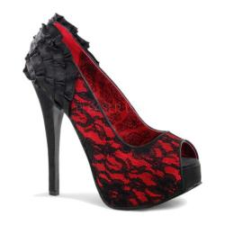 Women's Bordello Teeze 19 Red Satin/Black Lace