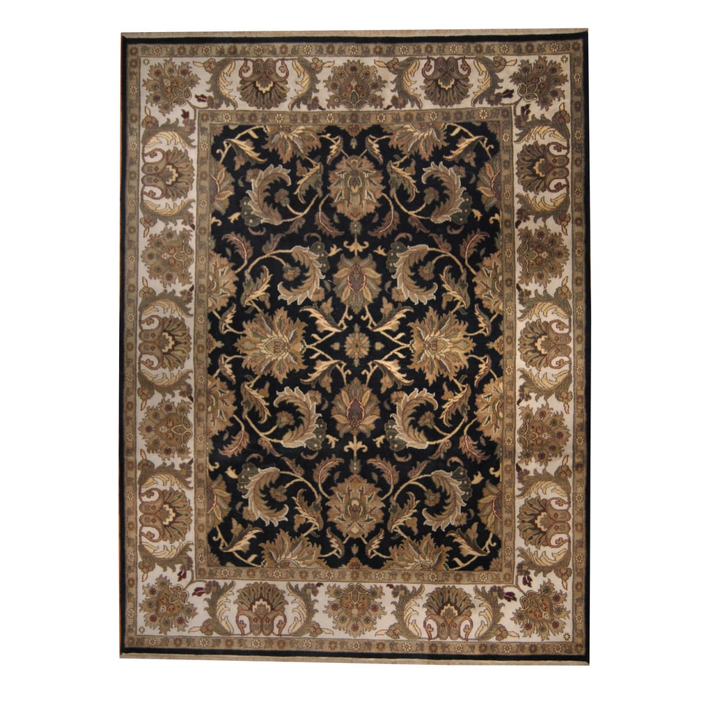 Herat Oriental Indo Hand-knotted Mahal Black/ Ivory Wool Rug (9' x 12')
