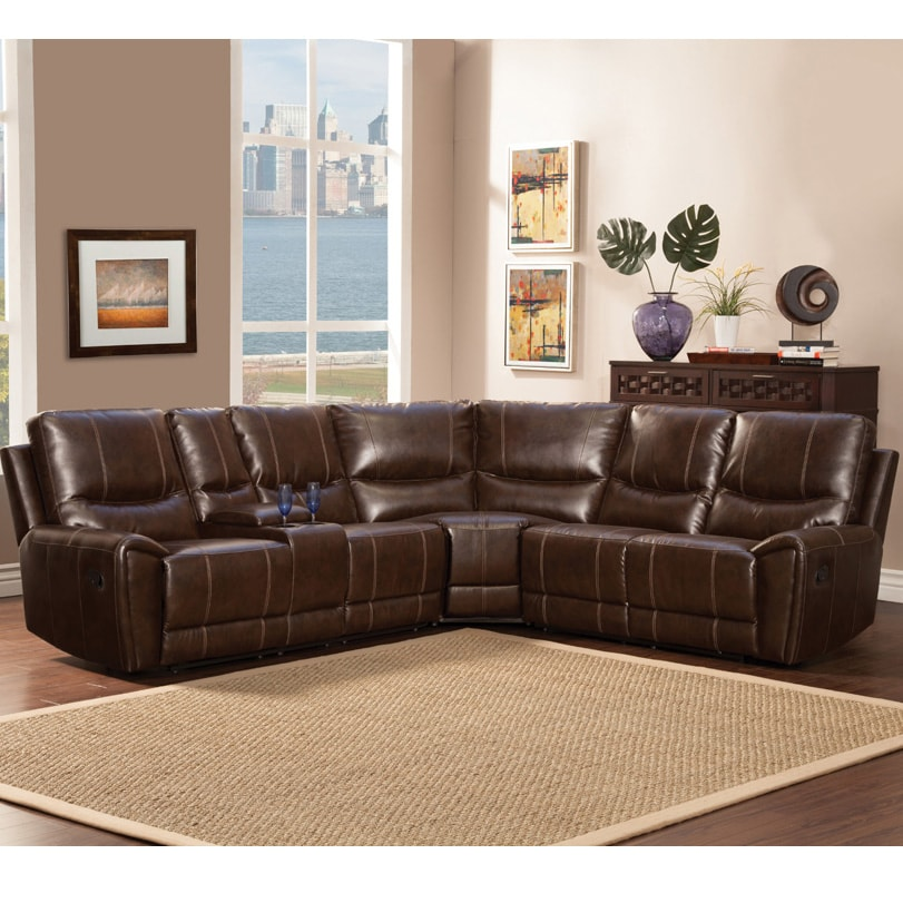 Curtis Brown Bonded Leather Reclining Sectional With Chaise